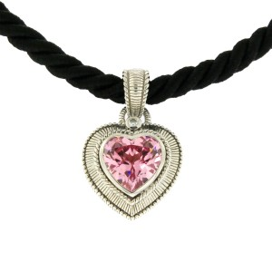 Judith Ripka 925 Sterling Silver with Pink Quartz Cz Black Cord Necklace