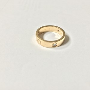 Cartier Love 18K Yellow Gold and 3P Diamond Ring Size 9