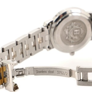 Hermes Clipper Quartz Watch Stainless Steel and Plated Metal 24