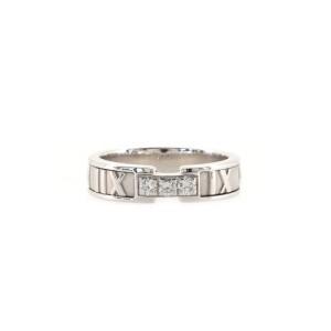Tiffany & Co. Three Diamond Atlas Band Ring 18K White Gold with Diamonds 5.5mm