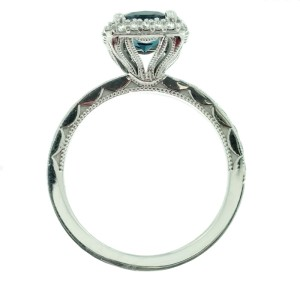 Tacori 18K White Gold Topaz .65ctw Diamond Ring Size 6.5