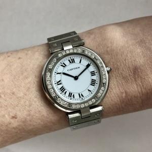 CARTIER SANTOS RONDE 32mm Quartz Steel 0.6TCW Diamond Bezel Ladies Watch