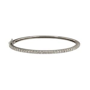 14K White Gold with 2.00ctw. Diamond Bangle Bracelet