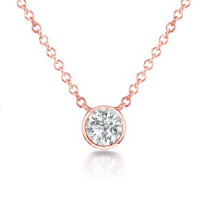 Diamond Solitaire 1/3 Carat Bezel Necklace in 14K Gold - rose-gold