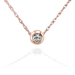 """Mini Diamond Solitaire Bezel Necklace in 14K Gold (18"""" Chain) - rose-gold"""