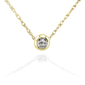 """Mini Diamond Solitaire Bezel Necklace in 14K Gold (18"""" Chain) - yellow-gold"""