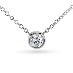 Diamond Solitaire 1/6 Carat Bezel Necklace in Platinum