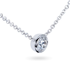 Diamond Solitaire 1/4 Carat Bezel Necklace in 14K Gold - white-gold