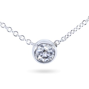 """Diamond Solitaire 2/5 Carat Bezel Necklace in 14K Gold (16"""" Chain)"""