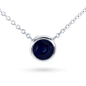 "Dark Blue Sapphire Bezel Solitaire Pendant 3/5 Carat in 14K White Gold (16"" Chain)"