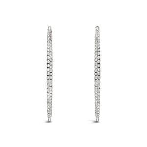 Thin Prong Style Diamond Hoop Earrings in 14k White Gold (1 1/2 cttw)