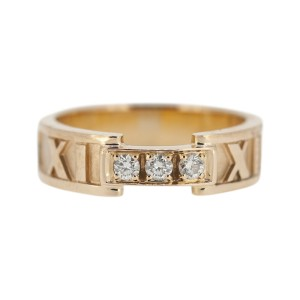 Tiffany & Co. Atlas 18K Rose Gold and Diamond Band Ring Size 6