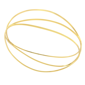 Tiffany & Co. Elsa Peretti 18K Yellow Gold 3 Row Wire Wave Bangle Bracelet
