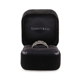Tiffany & Co. Cobblestone Band Ring Platinum with Diamonds and Rubies 9.5mm 6.5