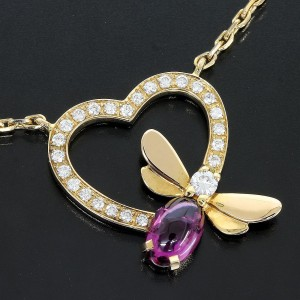 Chaumet 18K Pink Gold With Amethyst & Diamond Heart Necklace