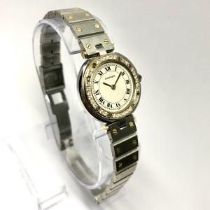 CARTIER SANTOS Ronde 27mm 18K Yellow Gold & Steel Diamond Bezel Watch