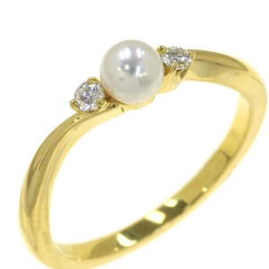 Mikimoto 18K Yellow Gold Pearl Ring Size 4.75