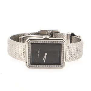 Chanel Boy·Friend Tweed Quartz Watch Stainless Steel with Diamond Bezel 21