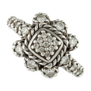 Judith Ripka 925 Sterling Silver Iron Cross CZ Diamonique Ring Size 11