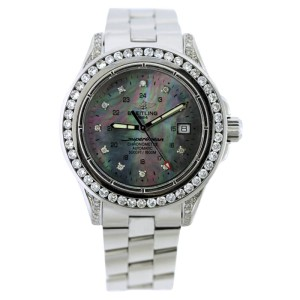 Breitling Super Ocean A17360 Stainless Steel With Black Mother of Pearl Dial Mens Watch