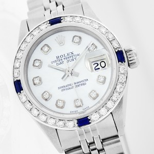 Rolex Datejust Steel MOP Diamond and Sapphire Ladies Watch