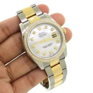 Rolex Datejust 36mm 2-Tone Oyster Watch/Custom White MOP Diamond Dial & 1.1Ct Bezel