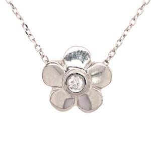 Petite 14k White Gold Flower with Diamond Pendant Necklace