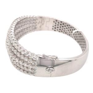 18k White Gold 5 Row Diamond Bangle Bracelet