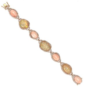 18k Yellow Gold Coral and Opal Bracelet