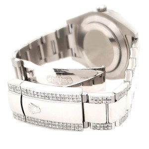 Rolex Datejust II 41mm Diamond Bezel/Lugs/Bracelet/Black Pearl Roman Dial Steel Watch 116300