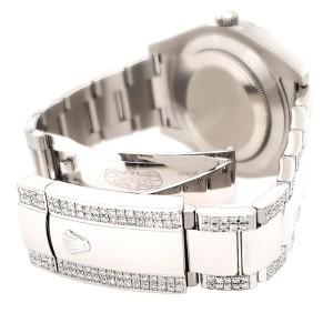 Rolex Datejust II 41mm Diamond Bezel/Lugs/Bracelet/Tahitian Blue Diamond Dial Steel Watch 116300