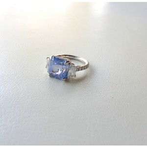 Sapphire and Diamond Stone White Gold Ring