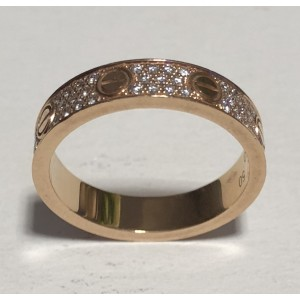 Cartier Love 18k Rose Gold Diamond Paved Wedding Band Ring Size 5 25
