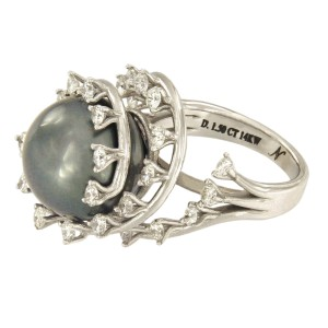 14K White Gold with 1.5ct. Diamond and Cultured Tahitian Pearl Ring Size 6