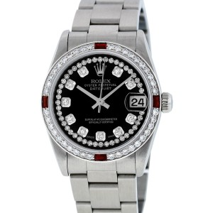Rolex Datejust Oyster 78240 Black String Diamond Dial 31mm Womens Watch