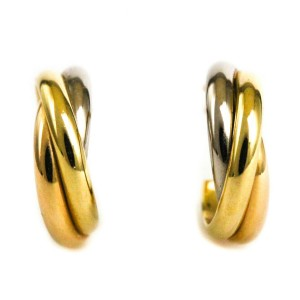 CARTIER Trinity Tri-Color 18K Yellow Gold PG WG Earrings