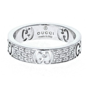 Gucci White 18k Gold Icon Eternity Diamond Band Ring