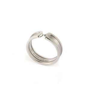 Cartier Double C 18K White Gold Ring Size 7