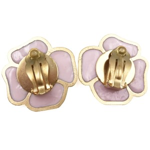 Chanel Gold Plated Pink Pop Up Camellia Clip On Earrings