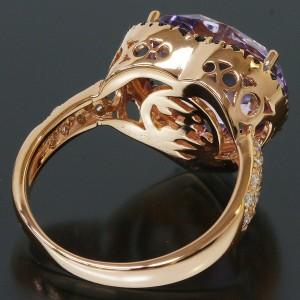 Zoccai Quartz & Onyx Heart Design Ring in 18K Rose Gold US7 EU53.5