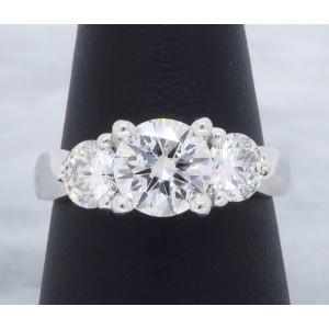 14K White Gold & 1.82tcw Diamond Three Stone Ring Size 6.5