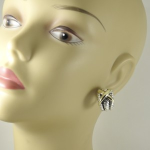 David Yurman 14K Yellow Gold 925 Sterling Silver Earrings