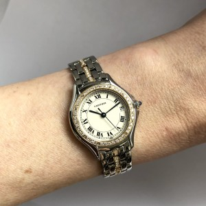 CARTIER COUGER 27mm Diamond Bezel & Bracelet Ladies Watch