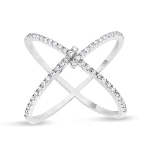 14k White Gold 0.36ct. Diamond Crossover X Ring Size 7.5