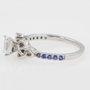 14K White Gold with 0.50ct Emerald Cut Diamond & Blue Sapphire Celtic Petite Engagement Ring Size 6