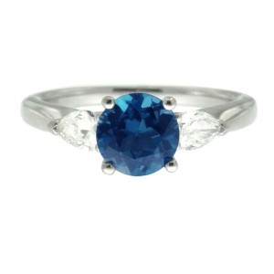 Ritani 18k White Gold Blue Topaz .40ctw Diamond Ring Size 6.5