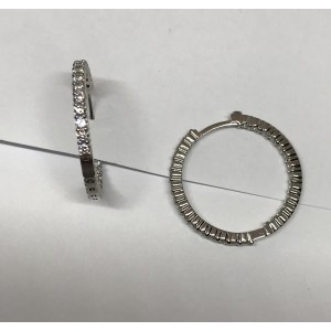 Roberto Coin 18K White Gold with 1.53ct. Diamond Hoop Earrings