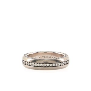 David Yurman Streamline Pave 1 Row Band Ring Sterling Silver and Titanium with Diamonds Narrow 9.5