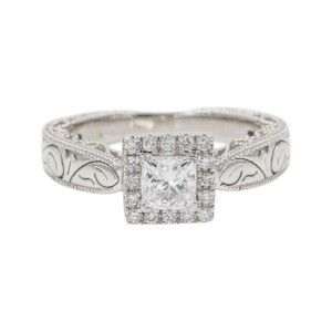 14K White Gold with 0.51ct Princess Cut Diamond Halo Engagement Ring Size 6