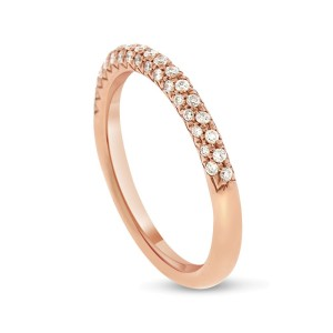 14k Rose Gold 0.30ct. Diamond Pave Rounded Wedding Band Size 6.5